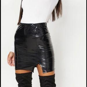 Black Vinyl Side Split Mini Skirt